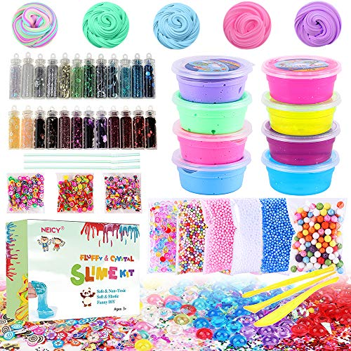 (DIY Slime Kit Supplies - Fluffy Slime and Clear Crystal Slime, Include Foam Balls, Fishbowl Beads, 24pcs Glitter Jars, Fruit Flower Candy Slices for Kids and Adults Slime Making (46pack Slime Kit))