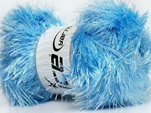 Large 100 gram skein Baby Blue Eyelash Glitz Ice Sparkly Eyelash - Bling Yarn