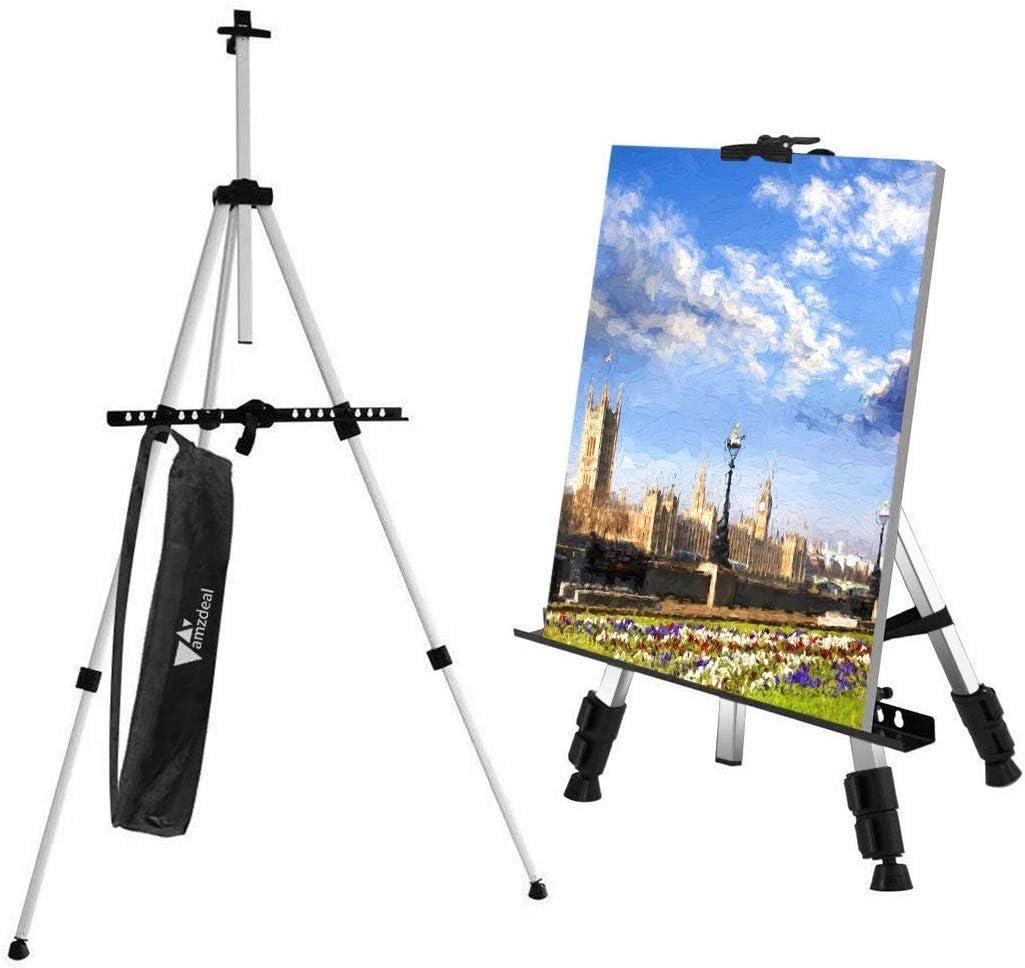 Amzdeal Staffelei Schwarz St/änder tragbar 52 cm A3 verstellbar Bilder//Poster A4 mit Tragetasche f/ür Innen- und Au/ßenbereich 162 cm A2 Tisch- und Bodenkunst