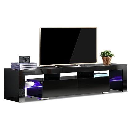 Amazon Com Tv Stand Elegant Black High Gloss Led Light Glass