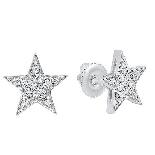 0.20 Carat ctw 14K Gold Round Cut White Diamond Ladies Star Shape Fashion Stud Earrings 1 5 CT