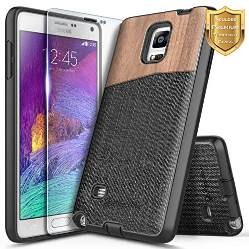 ase, NageBee Premium [Natural Wood] Canvas Fabrics Heavy Duty Shockproof Hybrid Defender Rugged Durable Case w/[Tempered Glass Screen Protector] for Samsung Galaxy Note 4 -Wood ()