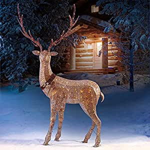 LED Glitter String Elk 4 metal stakes