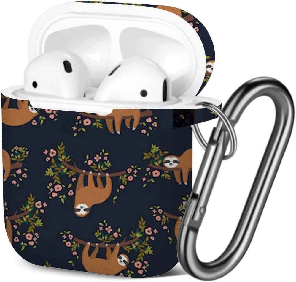 [ Compatible with AirPods 2 and 1 ] Shockproof Soft TPU Gel Case Cover with Keychain Carabiner for Apple AirPods (Cute Sloth On Tree)