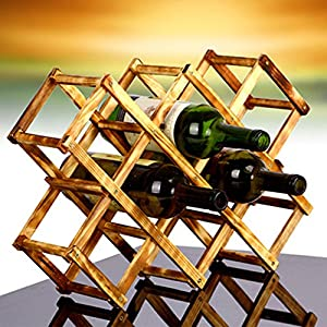Flexible Collapsible Pine Wooden Grape Red Wine Bottle Rack Folding Decor Stemless Leaning Corner Shelf Simple Stand Unusual Organizer Holder Stylish Storage Personalized (10-Bottle, Carbonized Color)