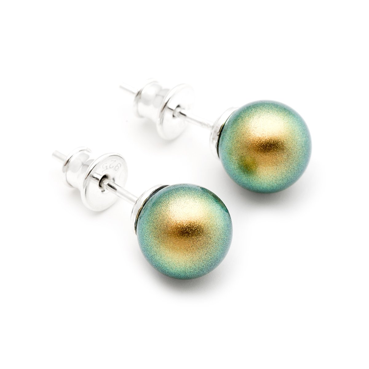 Iridescent green Swarovski Elements simulated pearl 8mm sterling silver 925 stud earrings