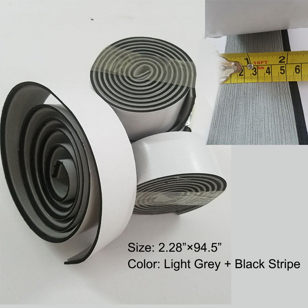 """yuanjiasheng Boarder Strips for the EVA synthetic teak sheets Boat Yacht Flooring Non-Slip and Waterproof, Boarder Strips 94.5""""×2.28"""" (Light Grey With Black Line)"""