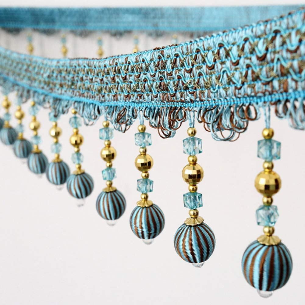 Wildgirl 1 Meter Drape Crystal-Clear Beading Pendant Hand Braid Embellished Fringe # A