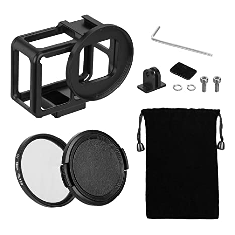 TELESIN Aluminum Protective Case Hollow Frame Housing for GoPro Hero 7  Black Hero 6 Hero5, with 52mm UV Filter and Backdoor, Good GPS/Wi-Fi Signal