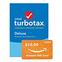 Deals on TurboTax Deluxe + State 2019 Tax Software PC + $10 Amazon GC