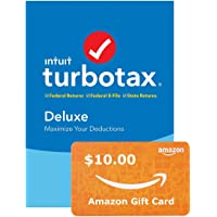 TurboTax Deluxe + State 2019 Tax Software PC + $10 Amazon GC