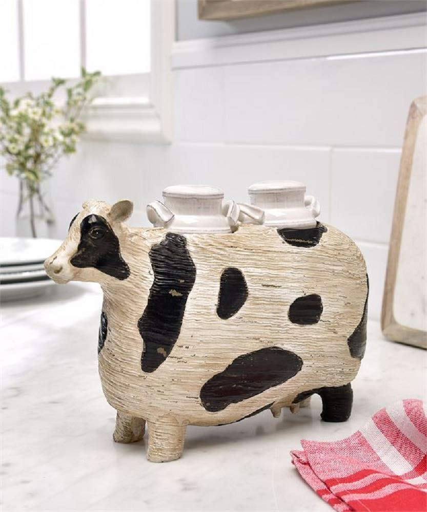 Giftcraft Salt and Pepper Shaker Set with Cow Design Stand by Gift Craft