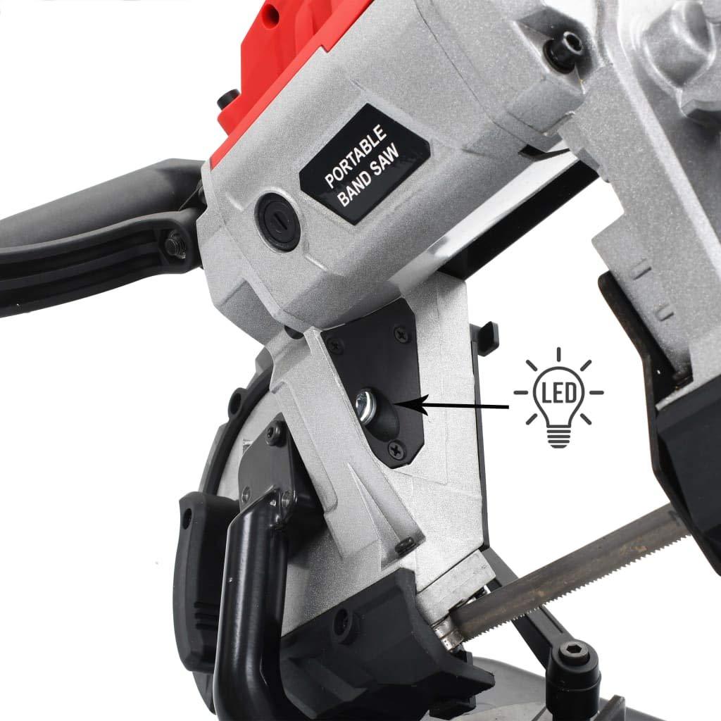 vidaXL Scie /à Ruban avec Mallette Portable Electrique Atelier Garage Outil Vari/ét/és de Mat/ériaux Compacte Polyvalente Scie /à Chantourner Acier