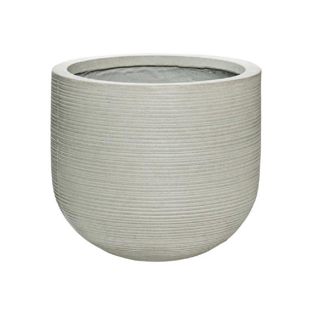 Elegant Round Horizontal Ridged Ficonstone Ivory Flower Pot 12''H x 14''W - Indoor Outdoor Planter by Potter Pots