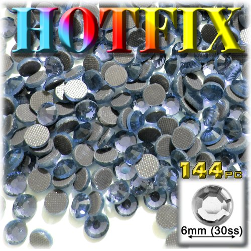 144pc Superior quality glass DMC HOTFIX Rhinestones Round 6mm (30ss) Hotfix rhinestones Light Blue