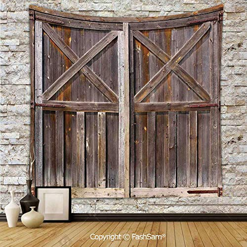 Tapestry Wall Hanging Old Wooden Barn Door of Farmhouse Oak Countryside Village Board Rural Life Photo Print Tapestries Dorm Living Room Bedroom(W59xL90)