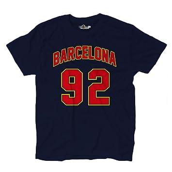 KiarenzaFD Camiseta T-Shirt Hombres Barcelona 92 Navy Streetwear ... 7e2e5e77a73b6