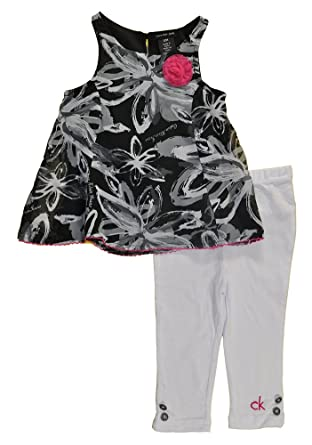 55a6f20d75 Amazon.com  Calvin Klein Baby Girls Chambray Tunic 2pc Legging Set ...
