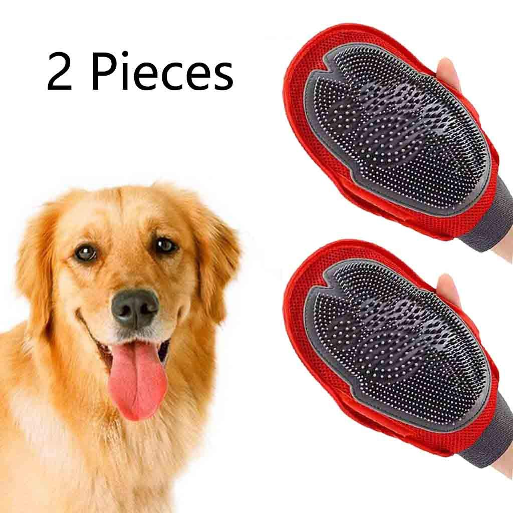 Wwjpet Pet Grooming Glove Pet Hair Remover Gloves with Enhanced Five Finger Design Gentle Deshedding Dog Accessories Brush Glove for Cats Dogs,2Pcs