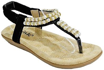 038ea67b3a4ef Girls Kids Calista21K Black Pearl Rhinestone T-Strap Thong Slingback  Comfort Wedge Cushioned Dress Sandals