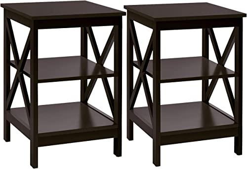 Giantex Nightstand 3-Tier X-Design W/Storage Shelves and Stable Structure Storage Organizer Display Sofa Side Table