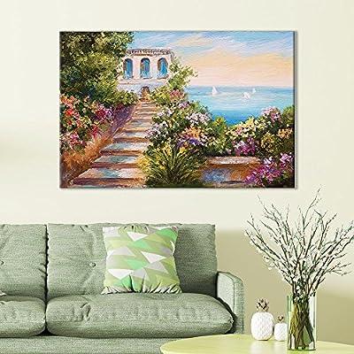 Unbelievable Piece, With Expert Quality, of European Villa Overlooking Ocean Oil Painting