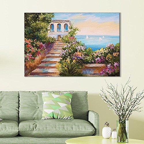 of European Villa Overlooking Ocean Oil Painting