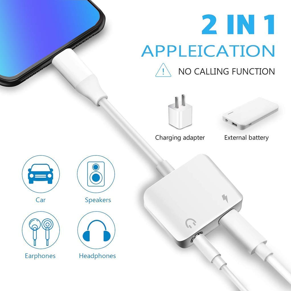 Headphone Adapter for iPhone Adapter Charger Adapter Cable for iPhone 7//7P//8//8P//X//XS//XR 3.5mm Jack Dongle Aux Audio Splitter 2 in 1 iPhone Adapter Converter Adapter Support iOS 12 System or Later