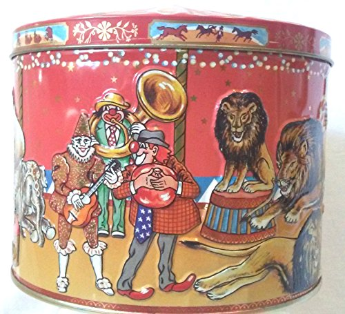 Circus Scene Collectible Biscuit Round Tin 5.5