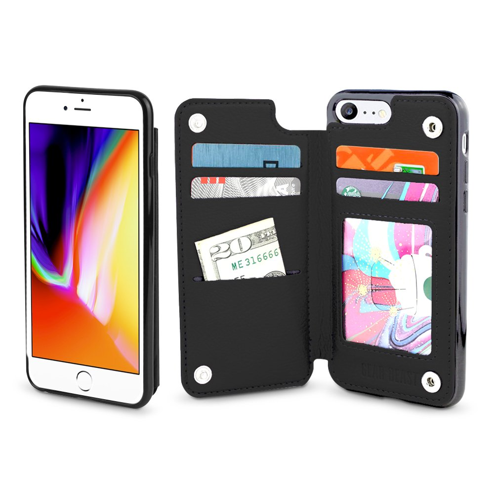 Gear Beast iPhone 8/7 Wallet Case, Top View Flip Folio for iPhone 8/7 Slim Protective PU Leather Case 4 Slot Card Holder Including ID Holder for Men & Women, Free Screen Protector-Midnight Black