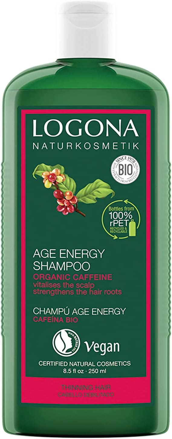 Champú natural Age Energy de Logona, de biocafeína, eficaz contra la caída del cabello, fortalece el cabello fino y sin fuerza, proporciona energía y fuerza para el cabello fortalecido, vegano, 250 ml: