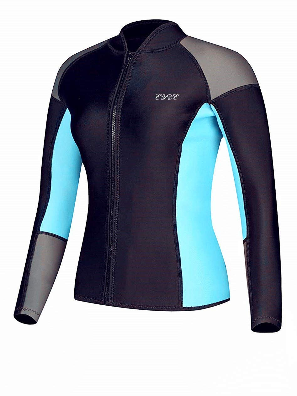 EYCE DIVE & SAIL Women's 1.5 mm Wetsuits Jacket Long Sleeve Neoprene Wetsuit Top (Grey/Aqua, 2XL = US 10)