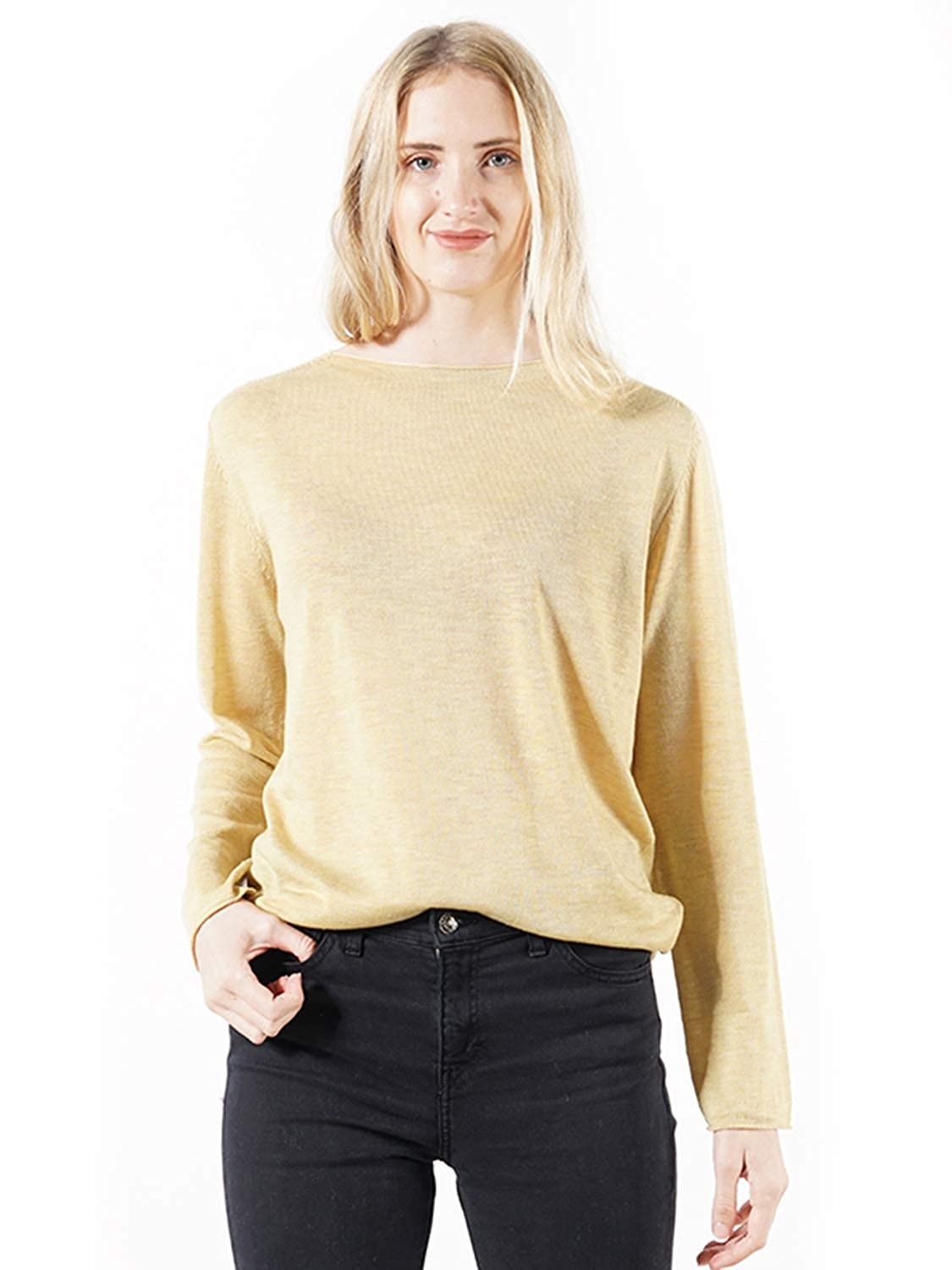 Yellow DEEBAI Women's Crew Neck Long Sleeve Sweatshirts Casual Loose Solid color Knitted Top Blouse