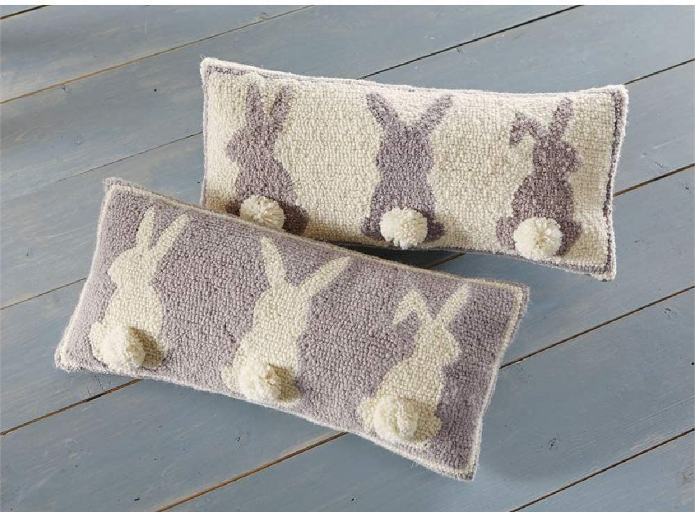 "Mud Pie Gray Triple Bunny Hook Pillow, 8"" x 18"""