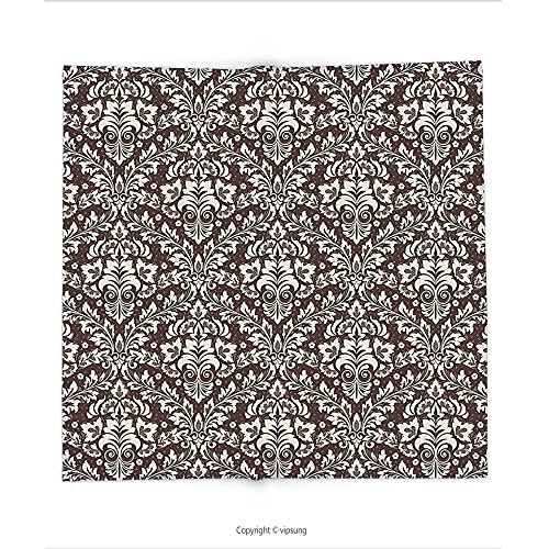 Custom printed Throw Blanket with Vintage Baroque Design of Traditional Damask Flowers Bouquet Old Fashioned Style Artwork Brown Cream Super soft and Cozy Fleece Blanket (Cookie Bouquet Boston)