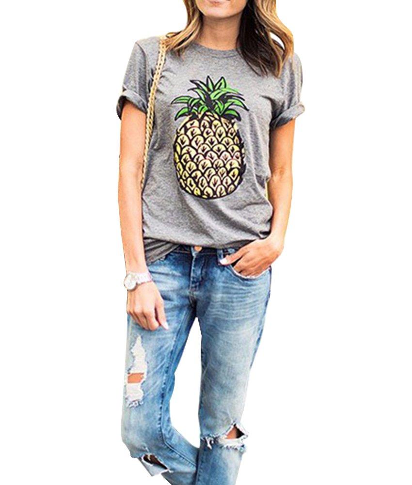 Mujeres Patrón De Piña Impresión De La Manga Corta Camiseta Flojas Tops Camisetas Ocasionales Gladiolus