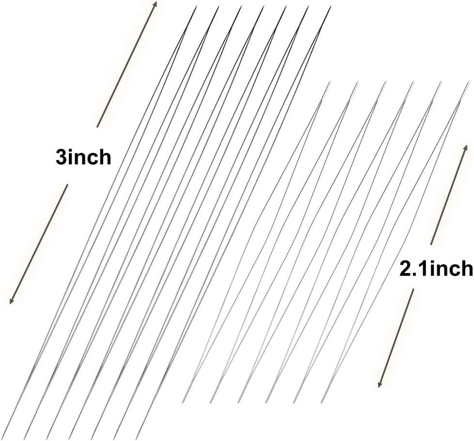 6 PCS Big Eye Beading Needles with Needle Bottle 12pcs 62.2, 63 inch