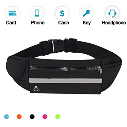 f61a030351bc Running Belt Waist Pack, Water Resistant Waist Bag, Sports Fanny Pack with  Adjustable Belt for Phone Men Women Running Hiking Cycling Travel Workout.