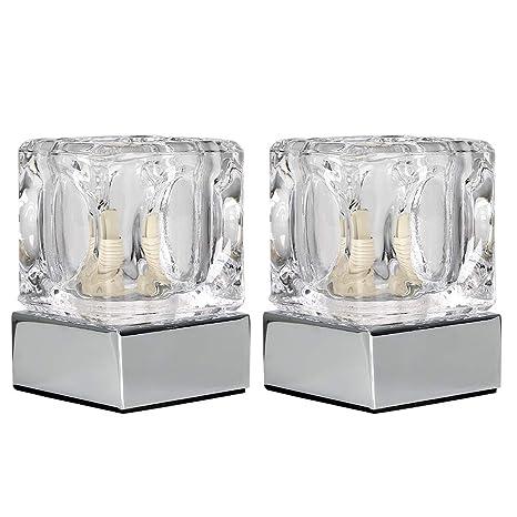 MiniSun - Set de 2 lámparas de mesa táctil - Acabado en cromo y cristal - Moderna con forma de cubito de hielo