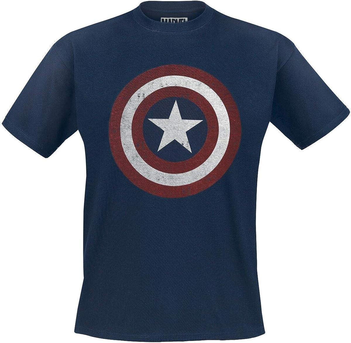 Captain america Shield Logo Uomo T-Shirt Blu Navy