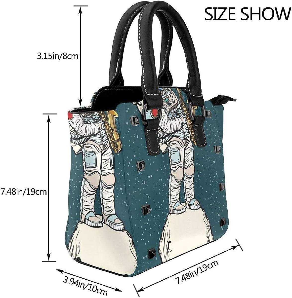 Magic Wolf acchiappasogni donna alla moda rivetto in vera pelle borsa a tracolla ragazze viaggio scuola borsa Sassofono Astronauta Spaziale