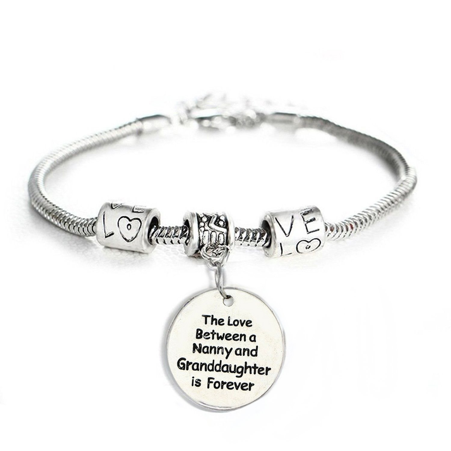 Love Between a Nanny and Granddaughter is Forever Bracelet - Personalized Jewelry Gift - 10'' Bracelet
