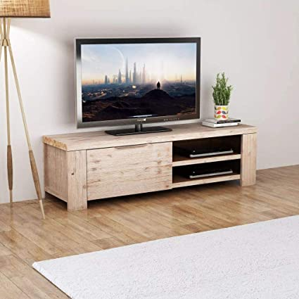 Amazon.com: Living Room TV Cabinet Solid Brushed Acacia Wood ...