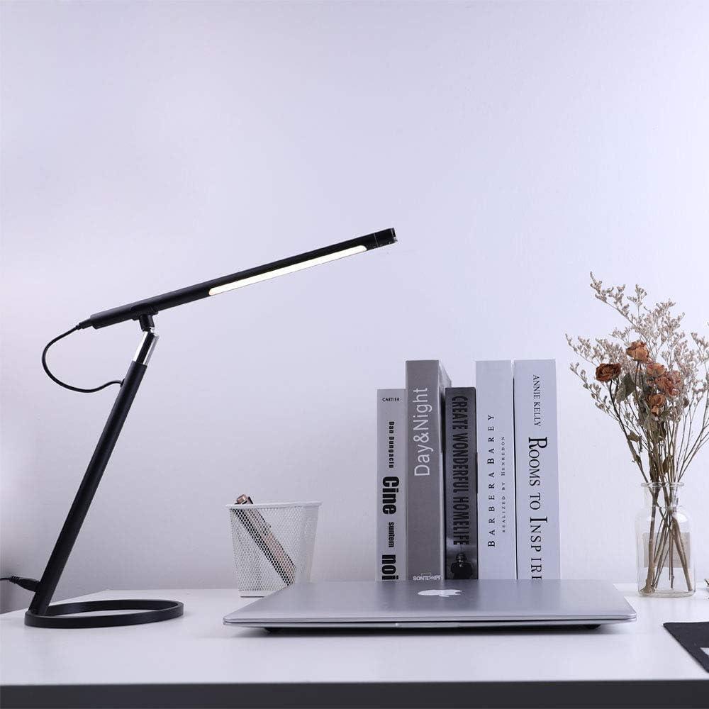 Eyocean Schreibtischlampe,Touchsteuerung Eye-Caring Tischlampen,3 Farbmodi Stufenlos abblendendes Leselicht mit 5V//1A USB-Ladeanschluss,Minimalistisches Design mit Memory-Funktion Schwarz 9W