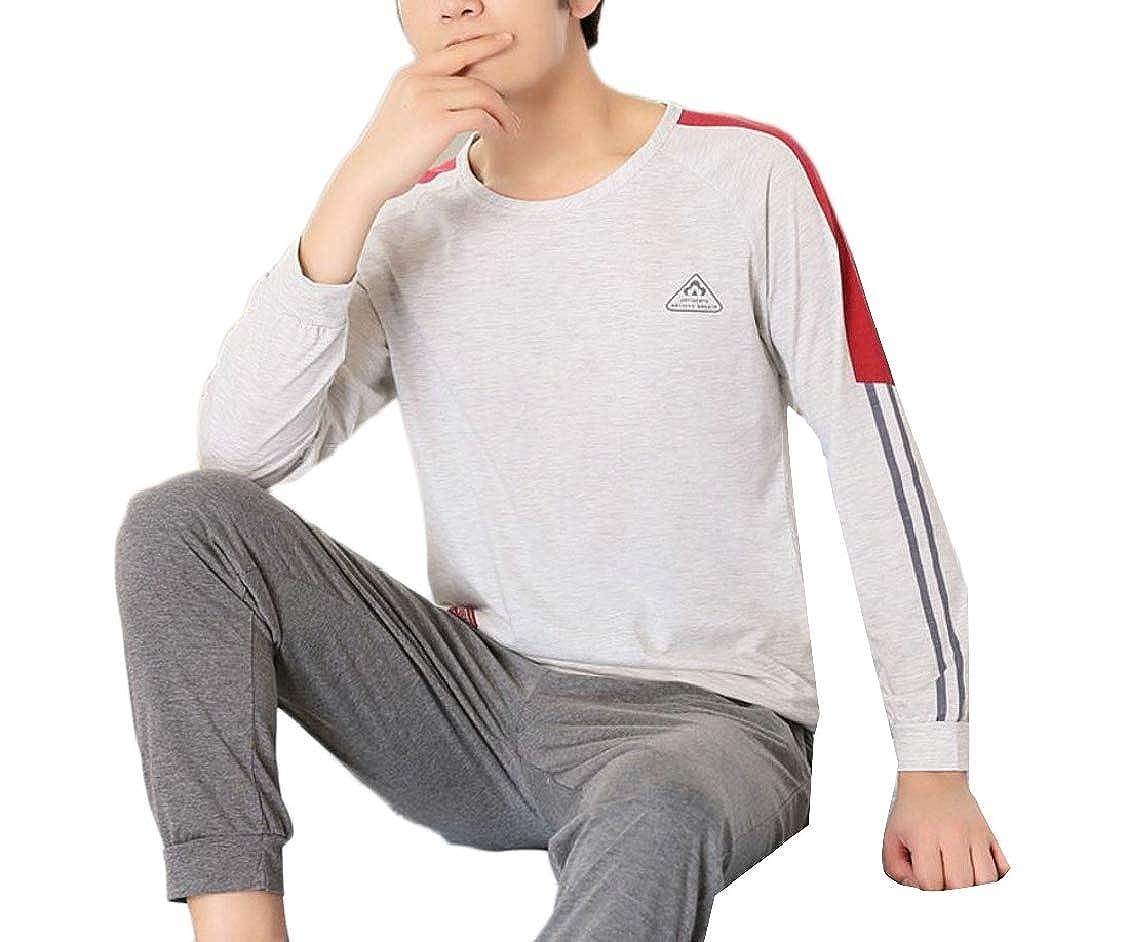 Hokny TD Mens Spring Long Sleeve Cotton Thin Homewear Pullover Pajamas Set