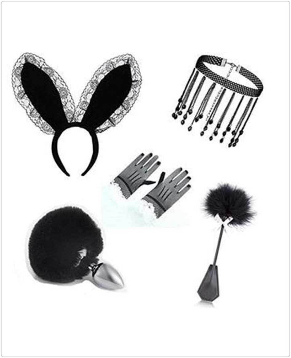 Z-one 1 Diadema linda de orejas de encaje y cola corta Guantes de exquisito collar de piedras preciosas, tocado de plumas Sombreros de fiesta Conjunto de accesorios de uniforme de Lolita