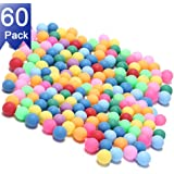 Kevenz 40MM Ping Pong Balls, 60 Pack Assorted Colored Tennis Balls Multi Color Plastic Balls Fun Beer Ping Pong Balls Bulk for Beer Pong Balls, Arts and Craft, Party Decoration, Cat Balls (Red,Green,P