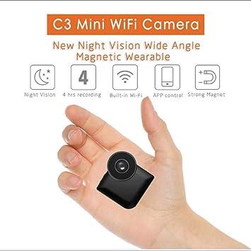 Jumedy Cámaras ocultas con mini espía de 140 grados Wifi, cámara portátil inalámbrica de niñera