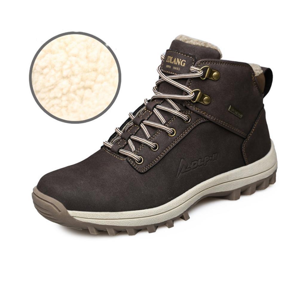 WDGT Herren Draussen Schnee Stiefel Original Leder Innen Samt Wasserdicht Rutschfest Schnüren Schuhe Warm Halten Leicht Dauerhaft zum Laufen Reisen Trekking Wandern Sport