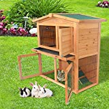 Olymstore 40'' Wooden Rabbit Hutch Chicken Coop House with Tray Ladder, Triangle Roof Waterproof Wood Pet Cage for Small Animals